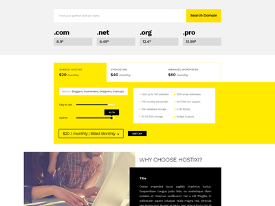 Hostixi yellow trend layout minimal ux ui template cloud price hosting