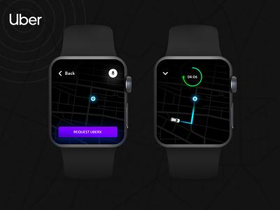 Uber Apple Watch watch os uiux black concet ui apple devices apple watch design apple watch mockup uber design watch design apple watch uber