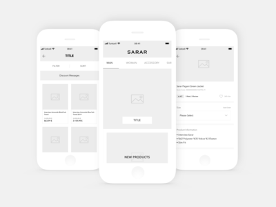 Sarar Shop App Wireframe