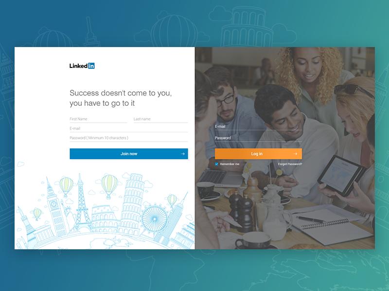 #dailyui 001 - Linkedin login interface user experience experience linkedin login desktop web illustration design ui