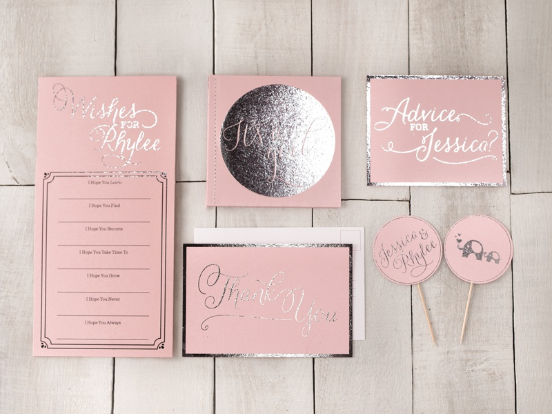 Baby Shower Invites baby shower invites invitations pink foil stamp thank you its a girl photography graphic design wood girl baby shower baby invites elephant mom to be mom daughter