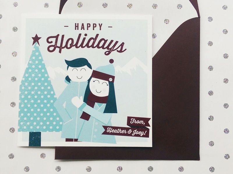Christmas Card 2014 christmas holiday cards greeting cards illustration graphic design seattle blue maroon happy holidays stationary texture