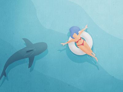 Paura - Fear fear summer shark digitalpainting artwork header papercut illustration