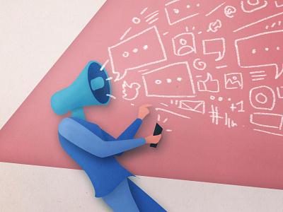 Storyteller mobile story social digitalpainting artwork paper papercut illustration