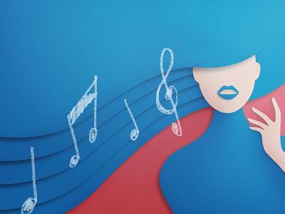 Tone of Voice woman voice digitalpainting artwork paper papercut illustration