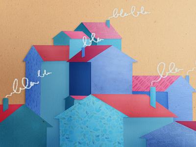 Talking about Real Estate houses header realestate talk vector design digitalpainting artwork paper papercut illustration