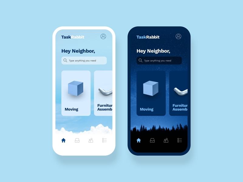 Task Rabbit Redesign dark mode redesign app design product design concept branding ux ui