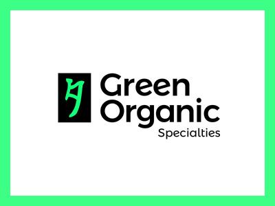 Green Organic Specialties Logo 2 mark green identity branding logo