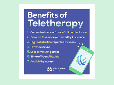 LifeStance Health Instagram Post - Benefits of Teletherapy mental health awareness corporate social social media adobe illustrator cc adobe illustrator digital design design illustrator illustration mental health teletherapy