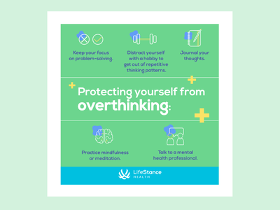 LifeStance Health Instagram Post - Overthinking mental health design mental health awareness mental health corporate social adobe illustrator cc social media digital design design illustrator illustration adobe illustrator