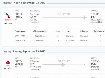 Flight Confirmation Summary