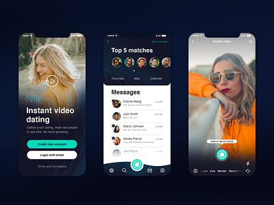 Video Dating App social design app flat ui video chat video iphone x ux ui design wave ios dating app ui  ux