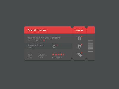 Social Cinema Ticket Ui flat ui ticket movie social cinema app