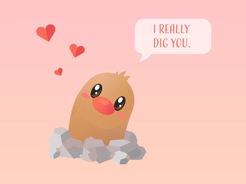 Diglett Valentine pokemon valentine video game anime illustration vector art flat design valentines day valentine diglett pokemon