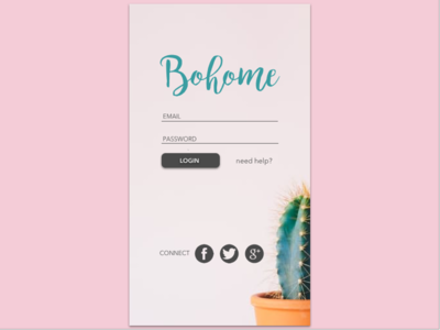 Daily UI #001 pink cactus minimalist ux mobile user interface app login ui dailyui 001 challenge