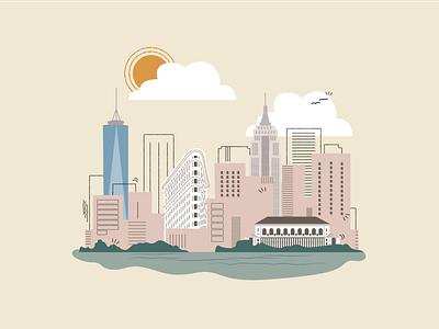 NYC // SF cityscape city san francisco new york city sf nyc branding editorial illustration adobe illustrator cc vector illustrator illustration