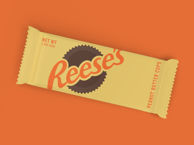 Reese's wrapper redesign reeses label wrapper packaging chocolate packaging chocolate bar chocolate candy candy wrapper weekly challenge weekly warm-up dribbbleweeklywarmup dribbble