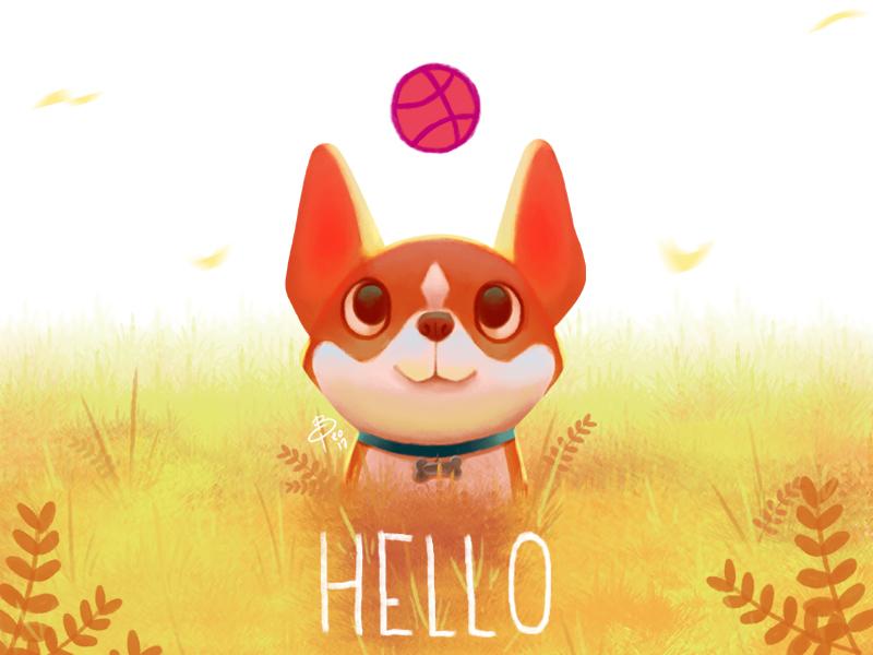 debut digitalpainting artwork illustration debut corgi dog