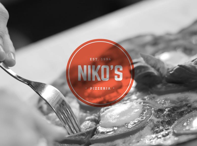 Niko's Pizzeria Logo graphic design identity design restaurant pizza pepperoni red quality freelance identity illustrator flat vector branding design clean brand minimal icon logo