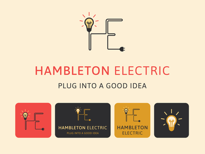 Hambleton Electric - Logo Suite Design graphic design identity iconography clean brand illustrator flat minimal icon typography vector branding logo illustration design