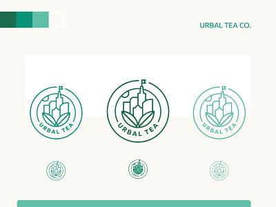 Urbal Tea Logo Design typography identity leaves city bright color urban herbal urbal tea shop tea icon branding clean brand design minimal logo