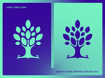 Leafy Tree Icon graphic design illustrator icon iconography flat vector brand minimal design logo