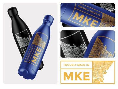 Made in Milwaukee my city city badge icon milwaukee mockup vector illustration clean brand minimal design water bottle graphic design branding logo