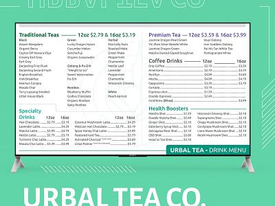 Urbal Tea Menu Design menu design menu herbal urbal ui vector illustration icon branding clean brand logo minimal design