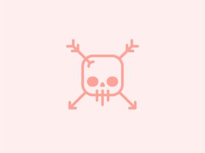 Skull Mark arrow logo pink arrow skull and crossbones skull iconography vector minimal logo illustrator icon flat design clean branding brand