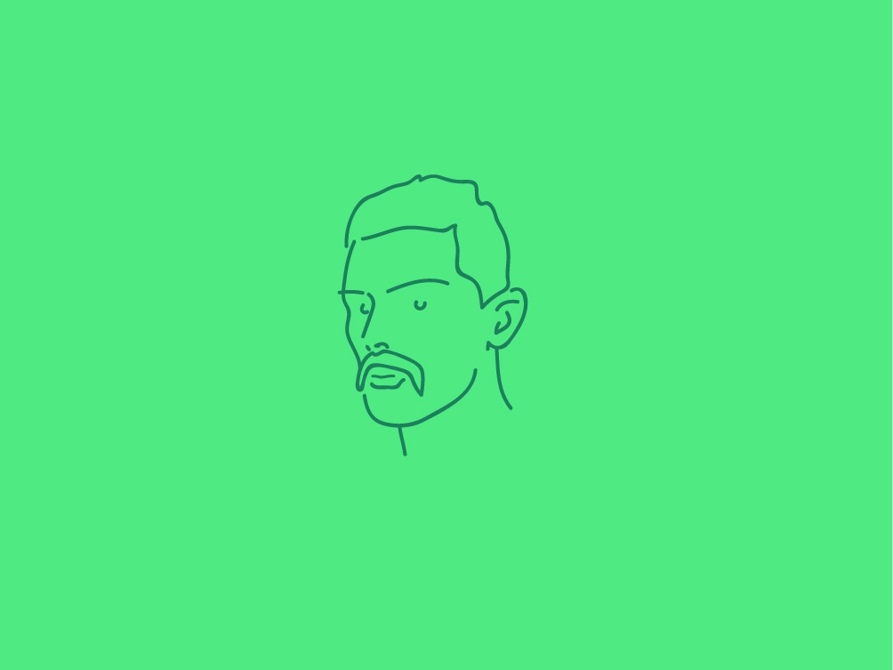 Handlebars simple drawing line line art green vector minimal illustration icon flat logo moustache
