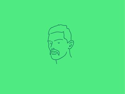 Handlebars simple drawing line line art green vector minimal illustration icon flat logo moustache
