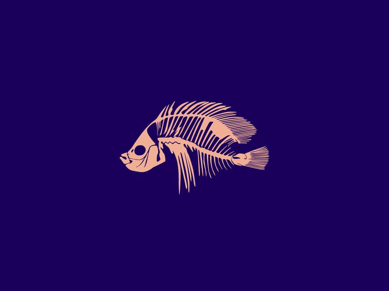 Dry Bones ocean dark pink peach purple adobe illustrator illustrator flat vector minimal iconography design illustration skeleton bones fossil icon fish