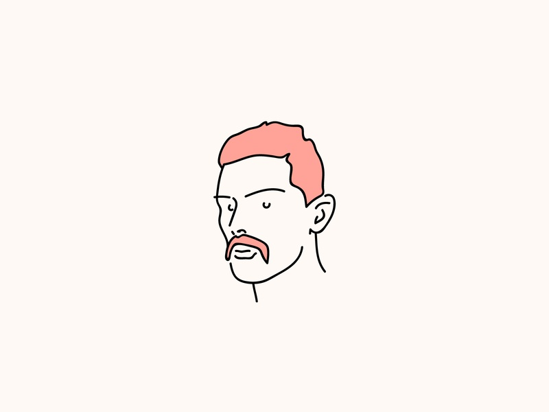 Handlebars 2.0 branding eyes warm graphicdesign art minimalistic simple minimal logo moustache face outline linedrawing lineart pink red headshot icon