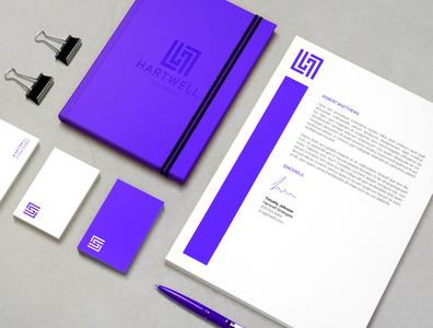 Hartwell Branding Collateral blue iconography identity branding labyrinth elegant typography clean brand design minimal logo