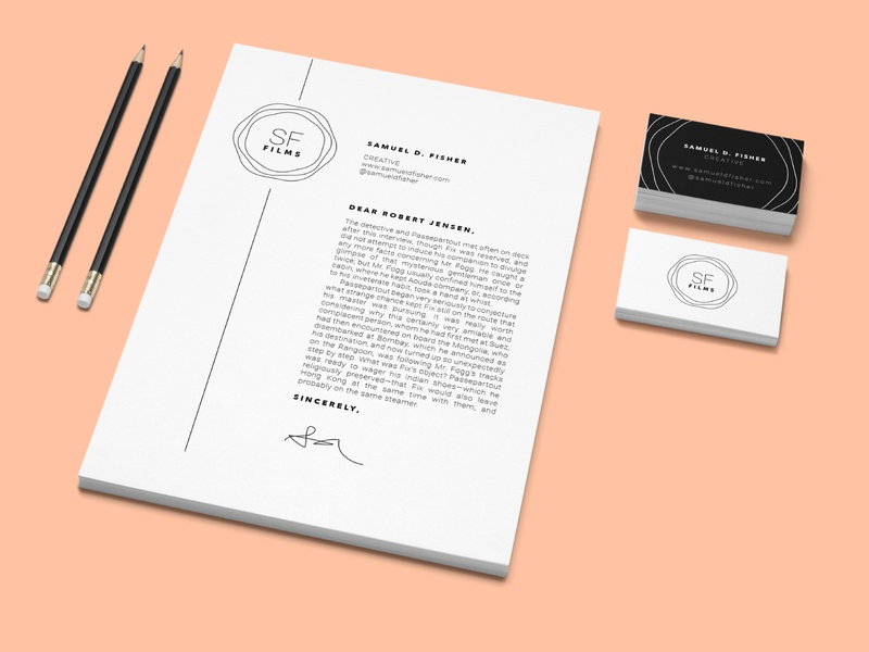 SF FILMS Brand Collateral typesetting letterhead paper identity typography branding clean brand design minimal icon logo