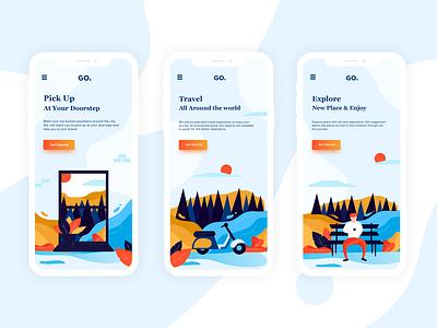 Explore and Enjoy! firstshot flat design ui design app vector ux ui illustration