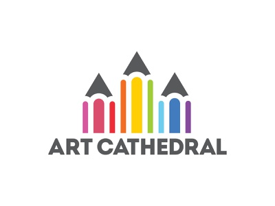 Art Cathedral - We Worship Art! personal project brand identity branding visual identity logo maker logo design pencils colourful logo logo colors art logo cathedral logo pencil logo pencil worship cathedral art