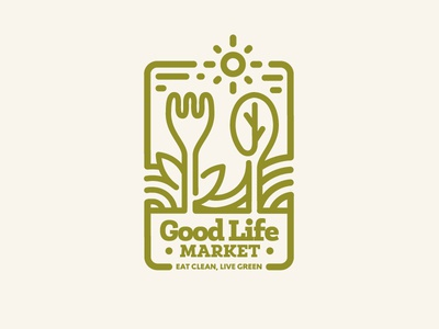 Organic Grocery Logo organic line craft logo. line craft badge line craft emblem organic line spoon fork fork and spoon green logo grocery store organic