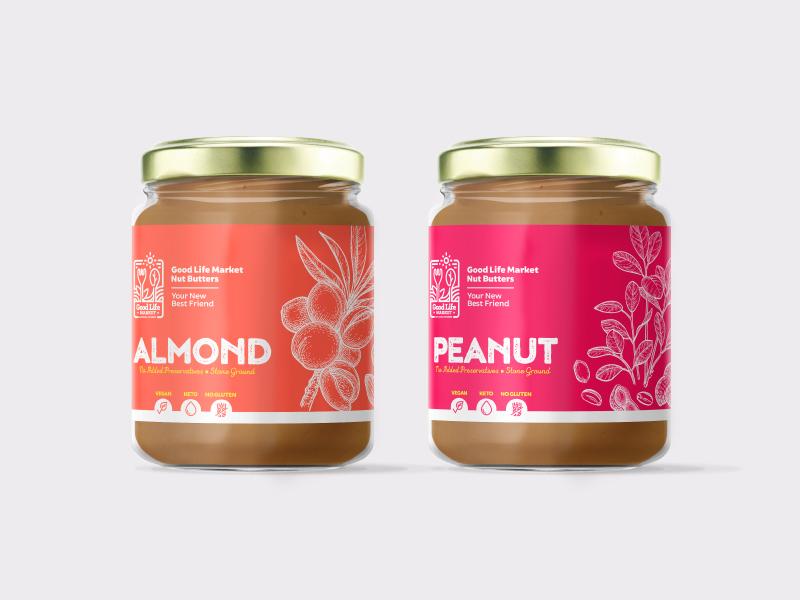 Nut butter packaging gluten free bright vibrant colorful organic vegan healthy design inspiration package design label design almond peanut label nut butter