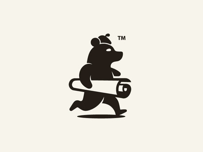 Brandmark for a vinyl company tm mascot logo logo design black and white logo b  w visual identity bear identity start up logo arts logo arts and crafts bear bear logo vinyl logo vinyl negative space