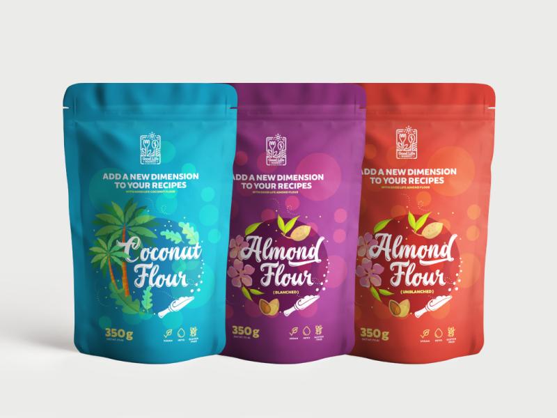 Coconut & almond flour packaging vegetarian design inspiration graphic design colors pouch groceries healthy vegan organic almond coconut flour flour packaging label design packaging