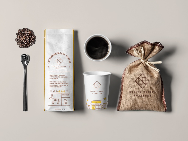 Packaging concept for a coffee roastery coffee logo coffee roasters coffee cup mockup coffee bean coffee roaster coffeeshop coffee house cafe label design packaging package design coffee cup specialty coffee coffee label coffee bag coffee shop coffee packaging coffee roastery coffee