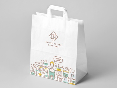 Takeaway bags for Native Coffee Roastery line illustration line art roastery coffee packaging shopping bag mockup coffee shop logo coffee branding specialty coffee coffee shop coffee brand coffee coffee roastery packaging package design bag design shopping shopping bag takeaway