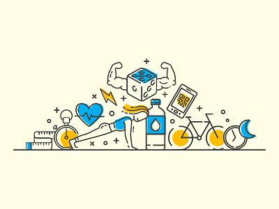 Line Illustration line drawing qrcode sports dice workout fitness line craft line art line illustration flat illustration flat art