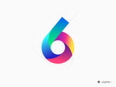 Version 6 Logo golden circle number gradient logo six
