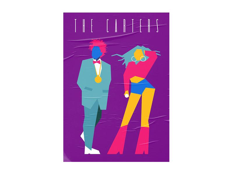 The Carters hip-hop music pop hiphop carter thecarters jay-z illustration art popart poster flat vector design illustration jayz beyonce