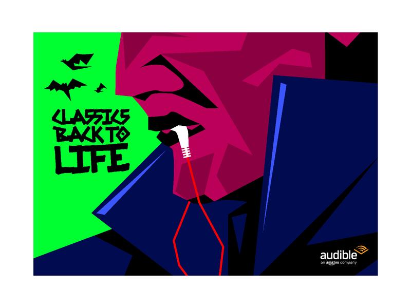 Dracula - Classics back to life vector flat face earphones headphones bat stories classics audio audiobooks audiobook vampire dracula illustration
