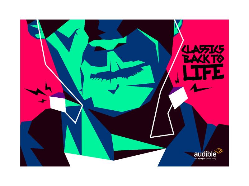 Frankenstein  - Classics back to life flat vector illustration illustrator book horror classic headphones music audio audiobook books stories classics frankenstein