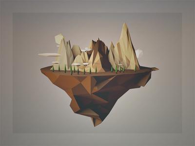 H\\GH PØLY render segments floating island c4d 4d 3d low poly poly