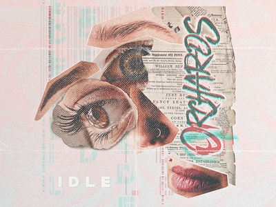 ØRCHRDS // iDLE  album artwork photoshop collage cut noise grain magazine pink pastels type letters clippings